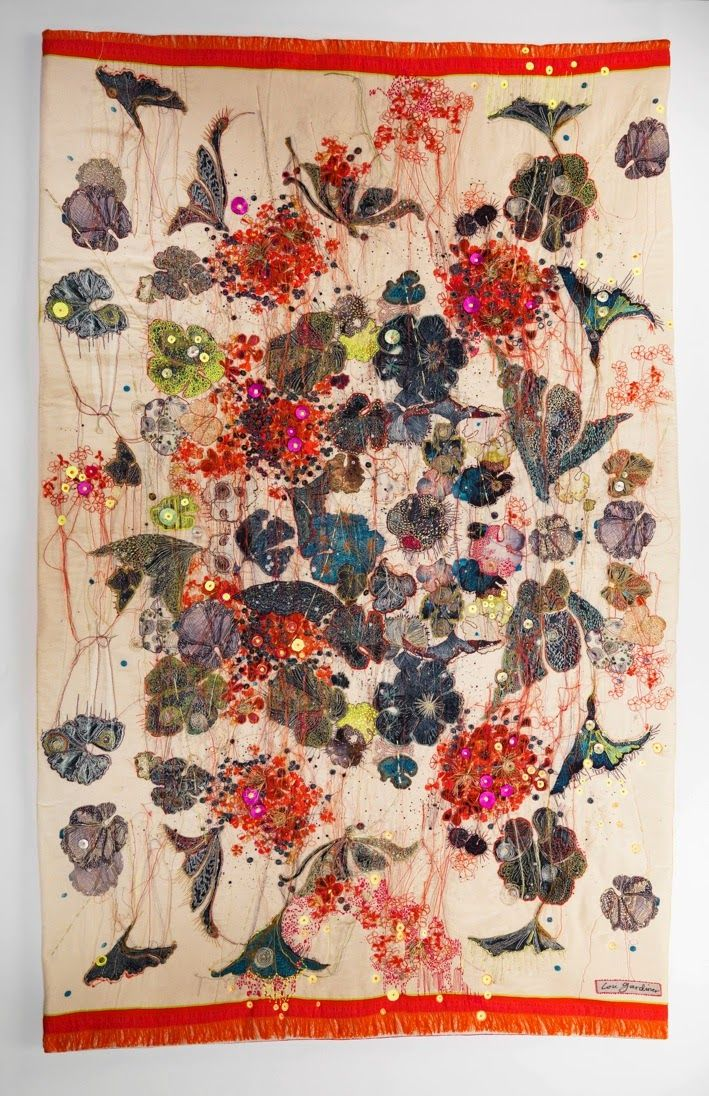 'Spontaneous Geraniums' Printed Silk with Embroidery and Appliqué - wall hanging or quilt. by Lou Gardiner