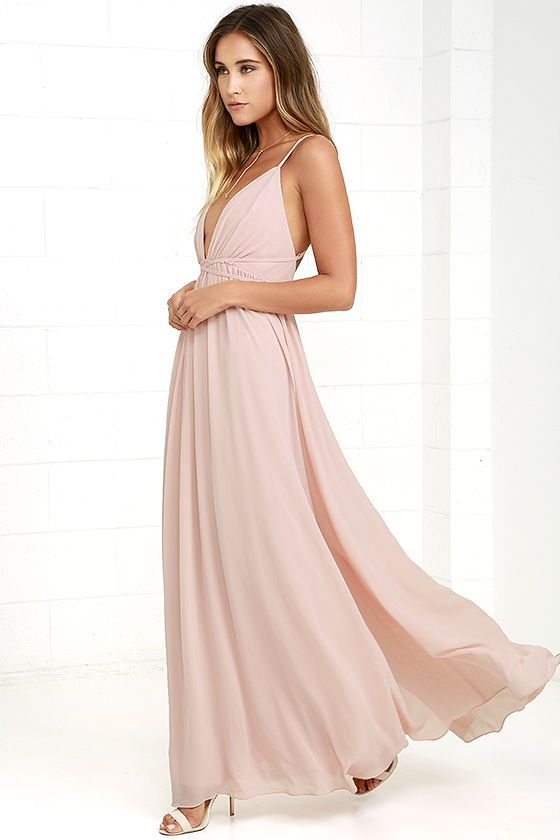 You'll soar right into our hearts with a look as splendid as the Flutter Freely Blush Pink Maxi Dress! Billowy bodice has a plunging neckline, supported by adjustable spaghetti straps, and a second set of straps that cross at back and cinch the waist. Woven poly maxi skirt has a full, twirl-worthy silhouette. Hidden back zipper/clasp. As Seen On Cara of A Fashion Love Affair blog!