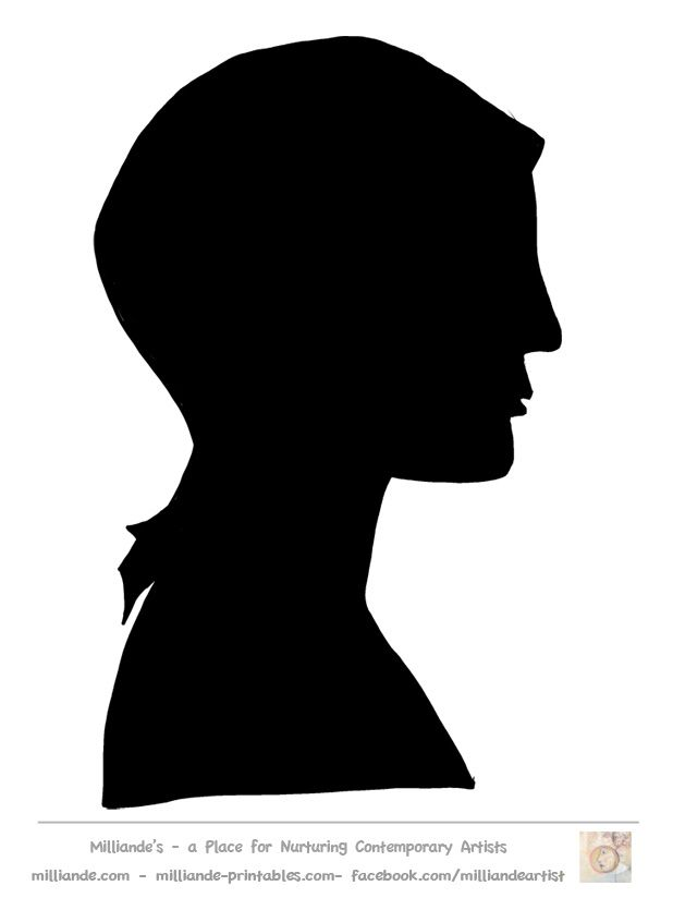 Face Silhouette Templates Printable Stencil Template at www.milliande-printables.com/female-face-silhouette-stencil.html , Free to print and download