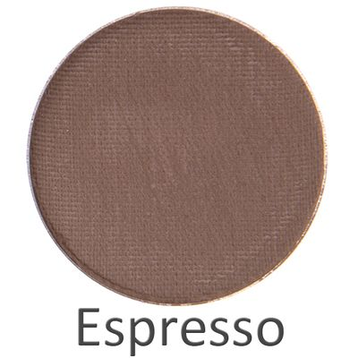 Espresso (matte) By popular demand, we have created the perfect dark matte brown! Espresso is one of the most luxurious and versatile colors we've ever seen! Perfect for defining your crease, smudging your eyeliner or all over for a smoky eye. Pair with a soft mauve lip.