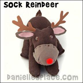 Sock Reindeer Craft from www.daniellesplace.com