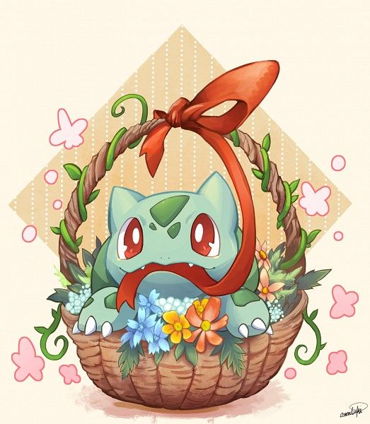 Tags: Anime, Pixiv Id 76537, Pokémon, Bulbasaur, Yellow Flower, Yellow Background, Basket