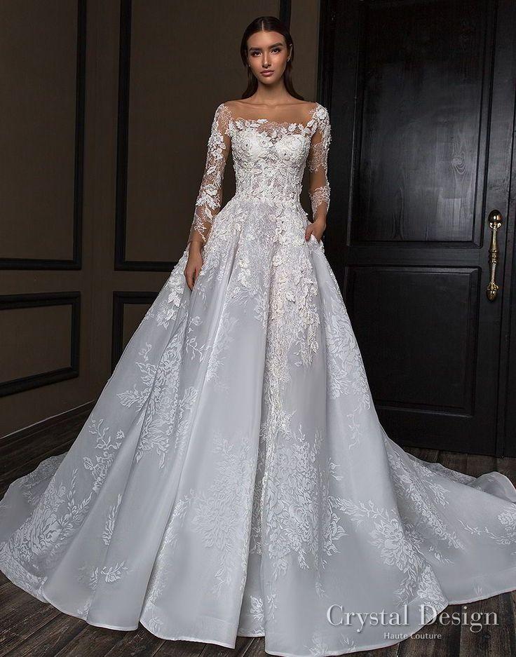 crystal design 2018 long sleeves square neck heavily embellished bodice princess a  line wedding dress royal train (asha) mv -- Crystal Design 2018 Wedding Dresses #weddingdress
