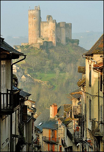 "Château de Najac ~ a royal fortress, built in 1253, which has seen ""events of...the first English occupation, the Albigensian Crusade, the Hundred Years' War, the imprisonment of the Knights Templar, the peasants' revolts, and the French Revolution. ~ Southern France"