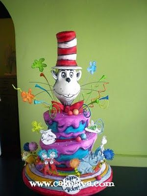 Dr Seus is a Dartmouth Grad --- so love his characters!: Hats Cake, Cake Ideas, Cake Decor, Seuss Cat, Awesome Cake, Dr. Seuss, Birthday Cake, Dr. Suess, Seuss Cake