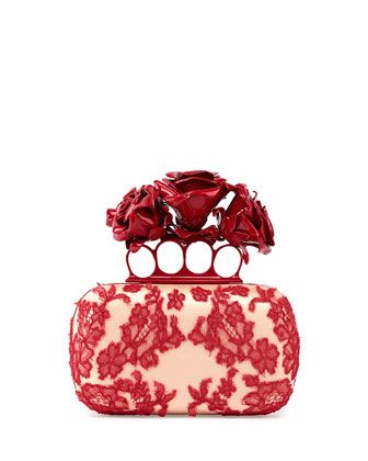 Roses Lace Knuckle Duster Box Clutch Bag, Nude/Red by Alexander McQueen at Neiman Marcus.