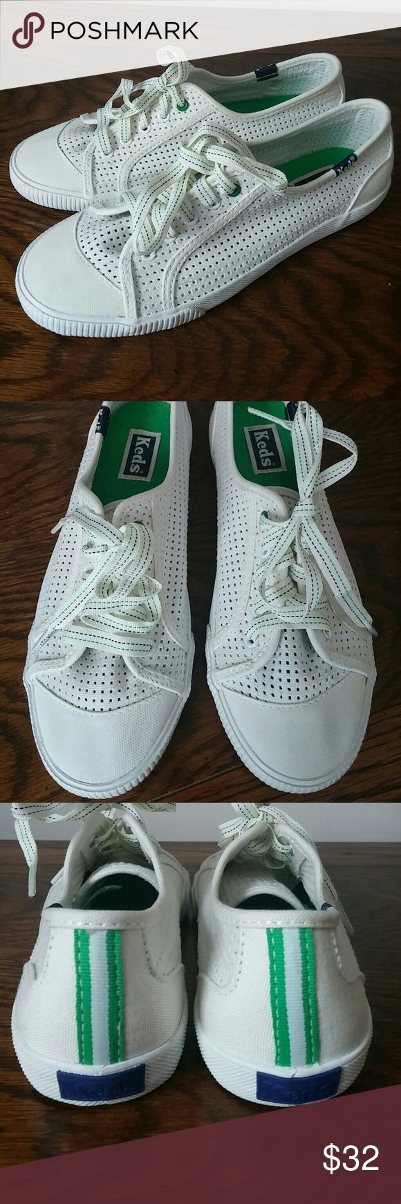 NWOT Keds tennis shoes So cute, new Keds tennis shoes. Fun Navy and green striped laces and a green stripe down the back. Perfect for vacation or this spring and summer. Keds Shoes
