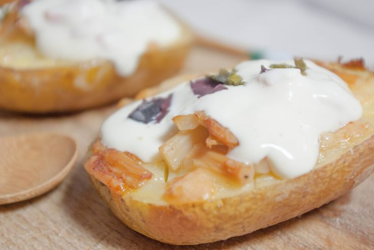 Baked potatoes, Sour cream and Salmon on Pinterest