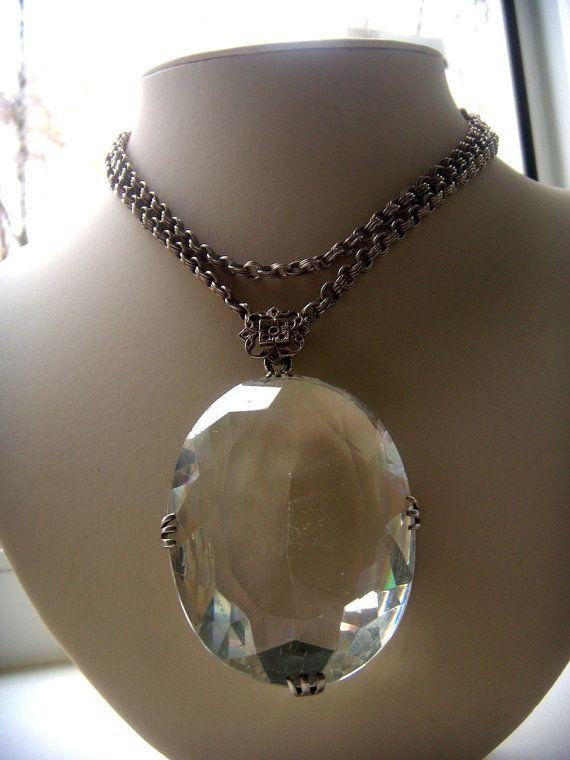 Crystal Silver Necklace huge stamp of France от ODMIVINTAGE