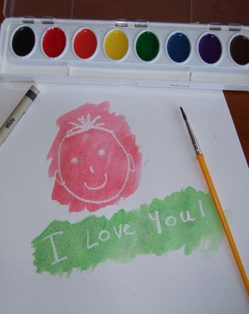 """Your first grader or preschooler will love this arts and crafts activity. Write an """"invisible"""" message in white crayon, then paint over it to reveal the secret!"""