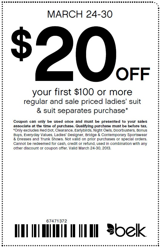 Coupon code for belk