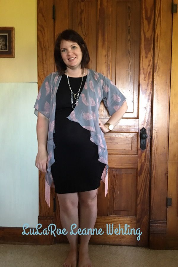 LuLaRoe Monroe Kimono and Julia Dress as maternity wear. The Julia makes the perfect little black dress! Https://m.facebook.com/groups/lularoeleannewehling Lularoeleannewehling@gmail.com
