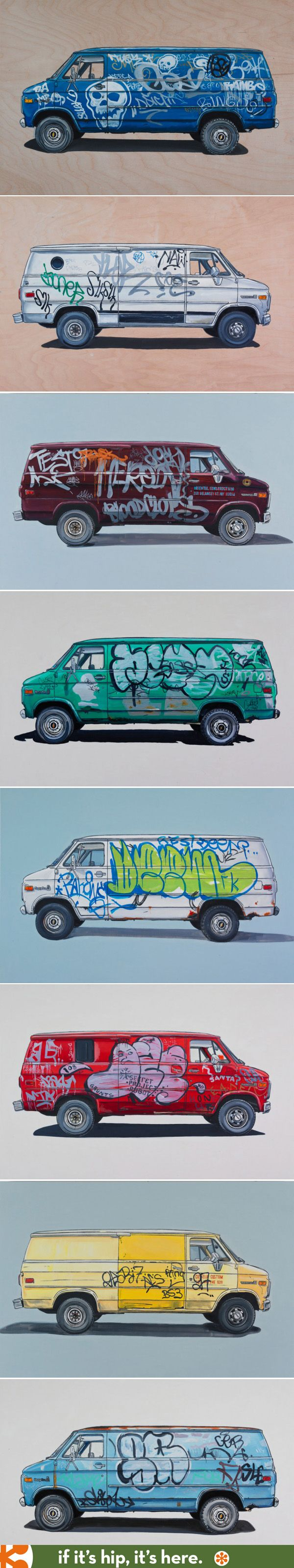 Van paintings by Kevin Cyr. Great fun and they look great in any home. See all 20 at the link.