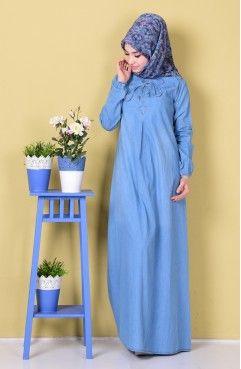Sefamerve, Bağcık Detaylı Kot Elbise 4401-01 Mavi