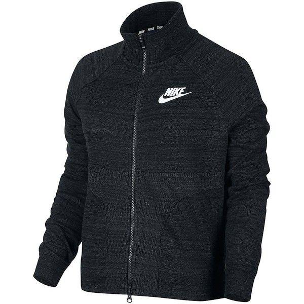 Nike Women's Advance 15 Track Jacket ($90) ❤ liked on Polyvore featuring activewear, activewear jackets, black white, tracksuit jacket, nike activewear, logo sportswear, nike and warm up jackets