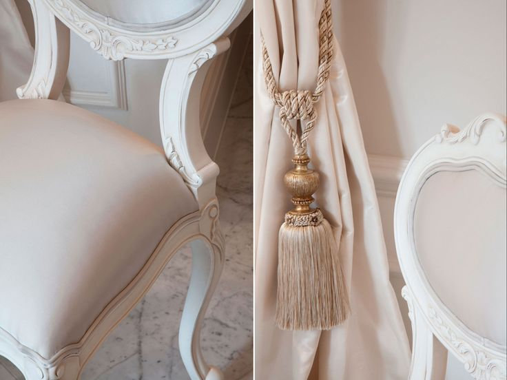 Curtain tie back and bespoke dressing chair detail from guest  bedroom inspired by Louis XV era | JHR Interiors