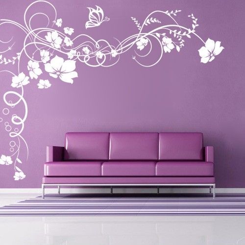 Wall decals canada wall stickers vine flowers butterfly floral