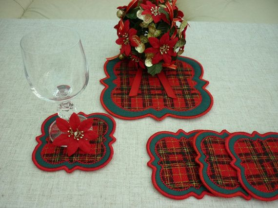 Trivet and coasters   set of 5 by artcroshe on Etsy