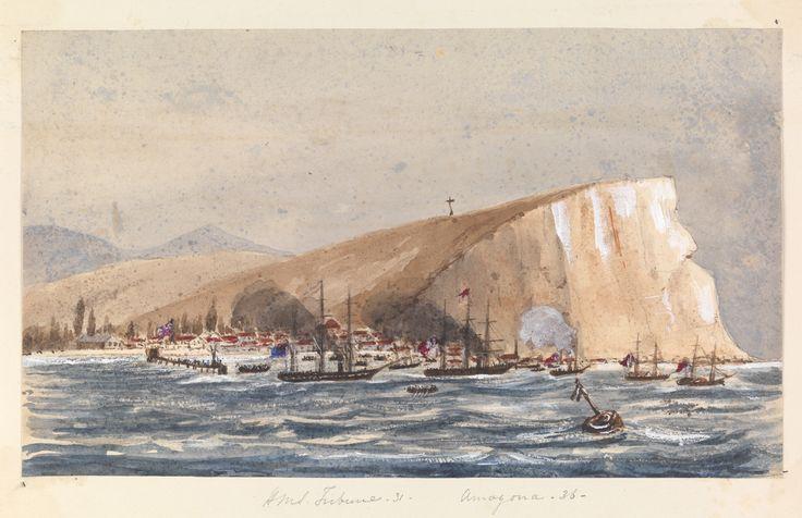 Acuarela de Harry Edmund Edgell. Ataque de mar en una ciudad costera, Arica atacado por la escuadrilla revolucionaria del general Vivanco, 25 de noviembre de 1857