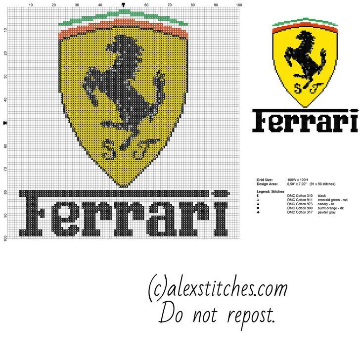 Ferrari logo auto bez Předloha se s pcstitch