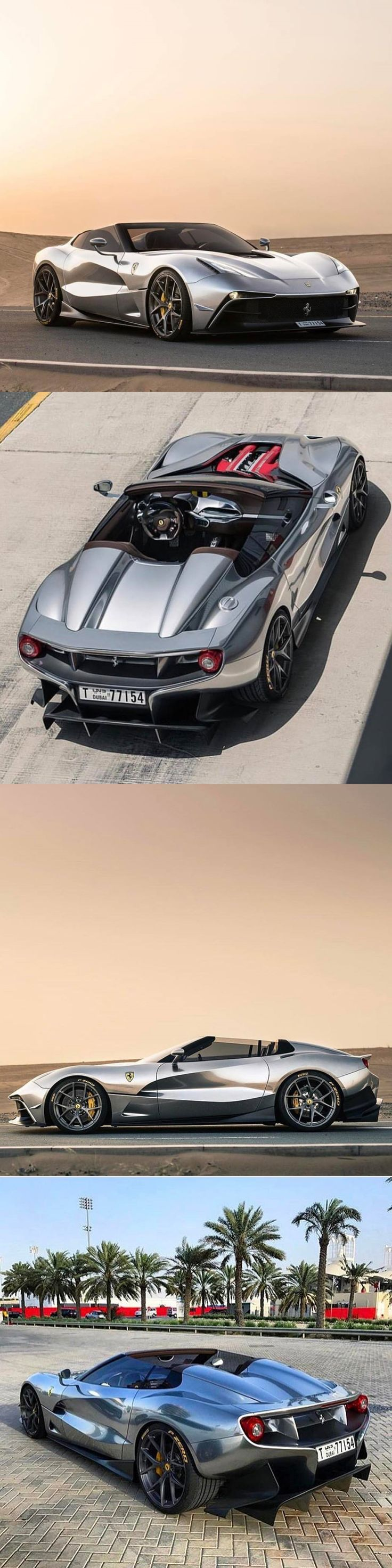 2014 Ferrari F12 TRS / $ 4.2 mio / 1 of 2 produced / Italy / silver chrome / 17-433