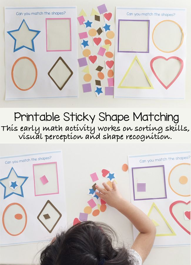 This printable sticky shape activity is a wonderful preschool math activity that helps your child learn early math skills like shape recognition, visual perception and sorting. My toddler was able to do this independently and loved calling out the names o