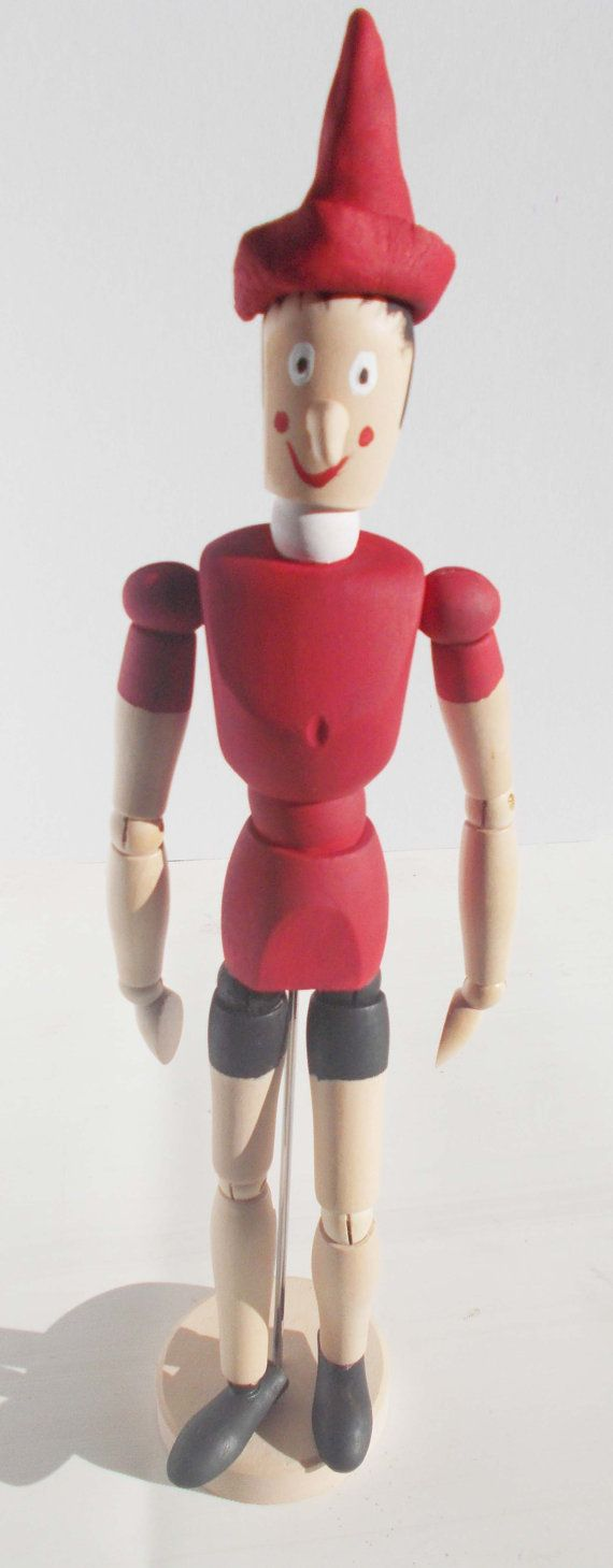 Pinocchio art doll sculpture wooden figure by mademeathens on Etsy
