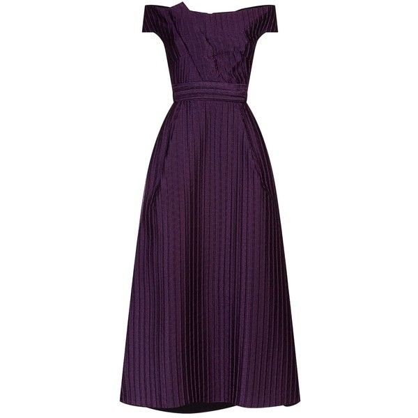 Roland Mouret Organza Dress (£2,199) ❤ liked on Polyvore featuring dresses, purple evening dress, fit flare dress, structured cocktail dress, cocktail dresses and purple cocktail dresses