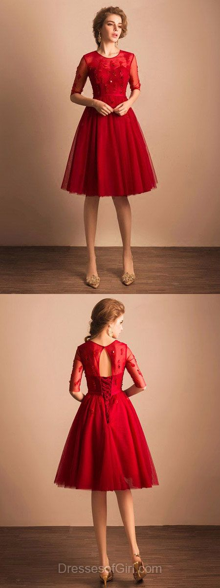 Red Homecoming Dresses, Knee-length Party Dress, Short Prom Dresses, Simple Cocktail Dress, Beautiful Girls Graduation Dresses