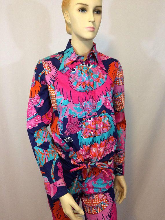 6459cb069a9 Design Thai Vintage 70 s Jacket and Pants Set    Exclusive Designer Cotton  Thai Print    Hot Pink Mod Print Pantsuit