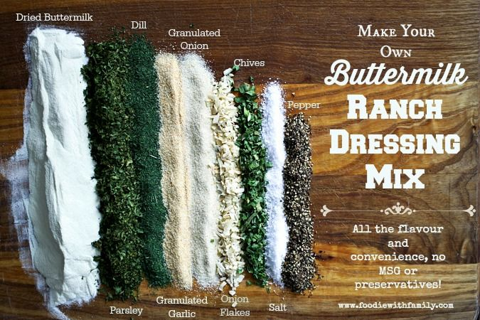 Make your own Buttermilk Ranch Dressing Mix for dressings and dips. No MSG. foodiewithfamily.com