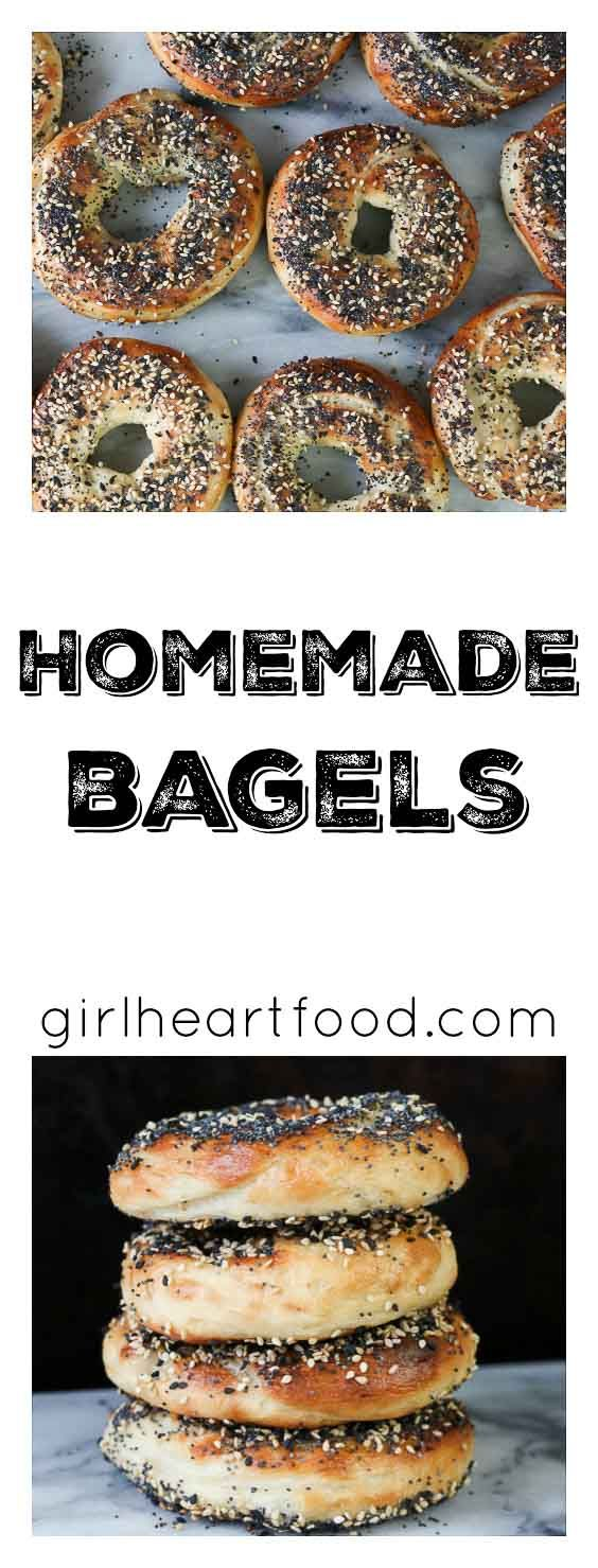 Homemade bagels from scratch are easier than you might think!  These are generously sprinkled with poppy and sesame seeds and flavoured with garlic and onion powder.  Best eaten fresh out of the oven!   #bagels #everythingbagel #homemadebagel #breakfast #alldressed #bread  via @Girlheartfood
