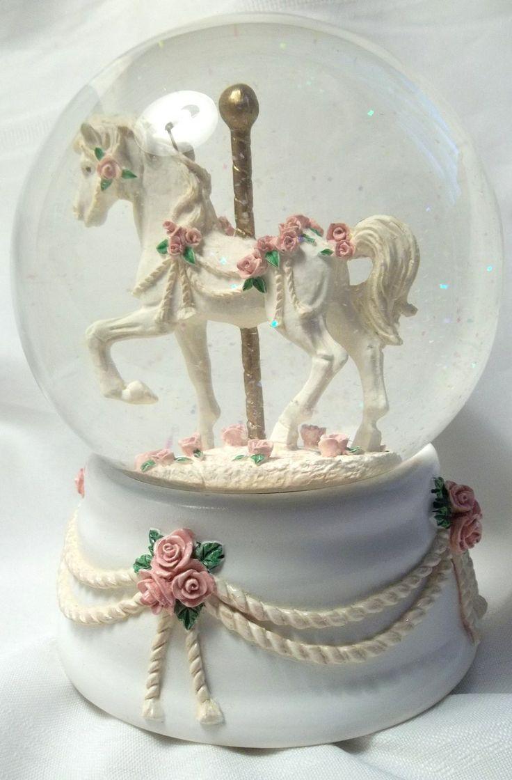 globe music boxes | ... Music Box Company Carousel Horse ...