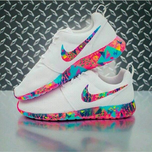 shoes nike roshe runs colorful multicolor white nike shoes nike running  shoes nike roshe run white roshe nike roche white shoes white sneakers low  top ...