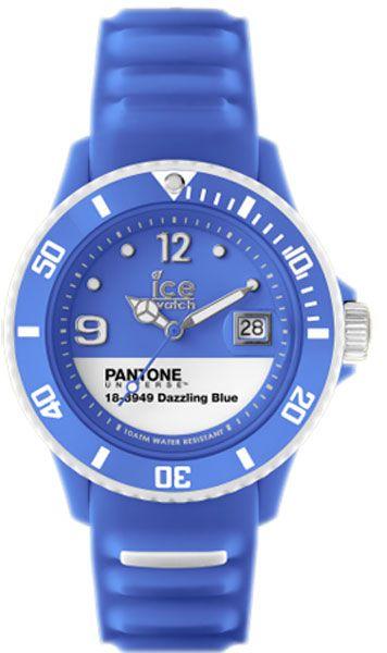 PANTONE UNIVERSE(TM): Reloj unisex. Movimiento de cuarzo analógico. Caja de plástico azul. Correa de silicona azul. Esfera blanca y azul con calendario. Diámetro 43mm. Resistente al agua 100m. Cristal mineral. Garantía de 2 años. #IceWatch