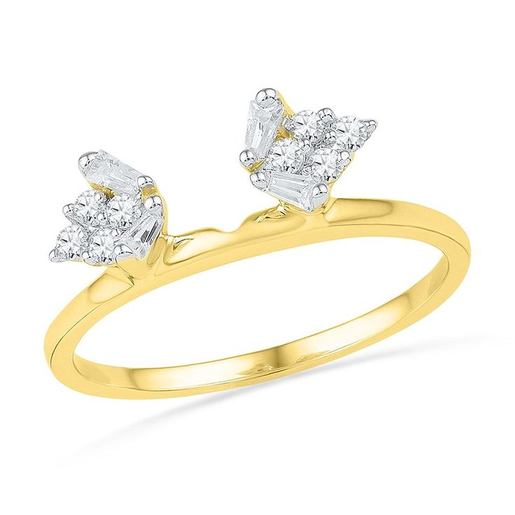 14kt Yellow Gold Womens Baguette Natural Diamond Ring Guard Wrap Solitaire Enhancer 1/4 Cttw * Remarkable product available now. : Wedding Ring Enhancers