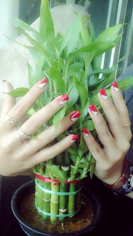 Red polish, flowers on edge