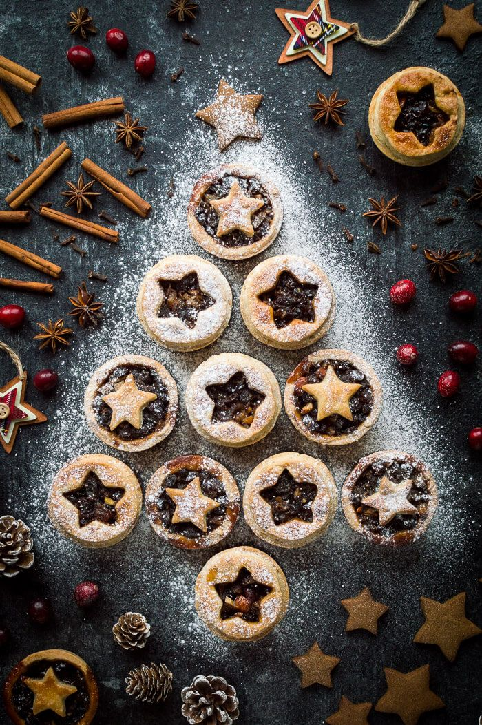 Vegan Mince Pies With Coconut Oil Pastry Arranged In A Christmas