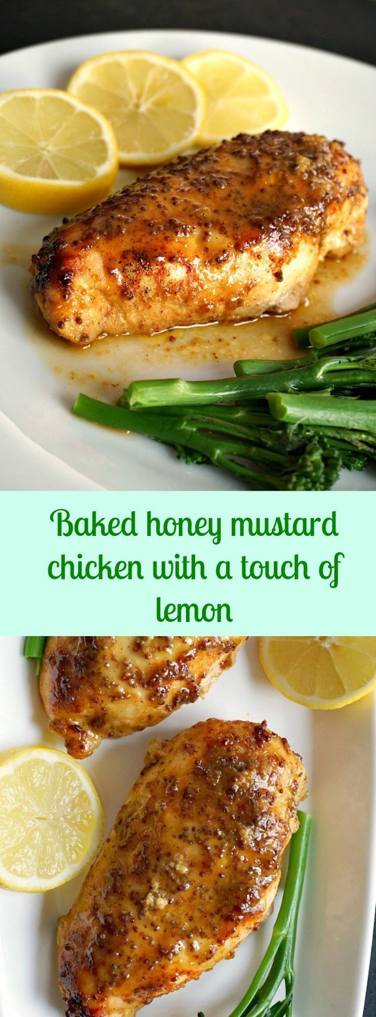 Baked honey mustard chicken with a touch of lemon, an amzing meal for two. Ideal for Valentine's Day or just a romantic dinner.