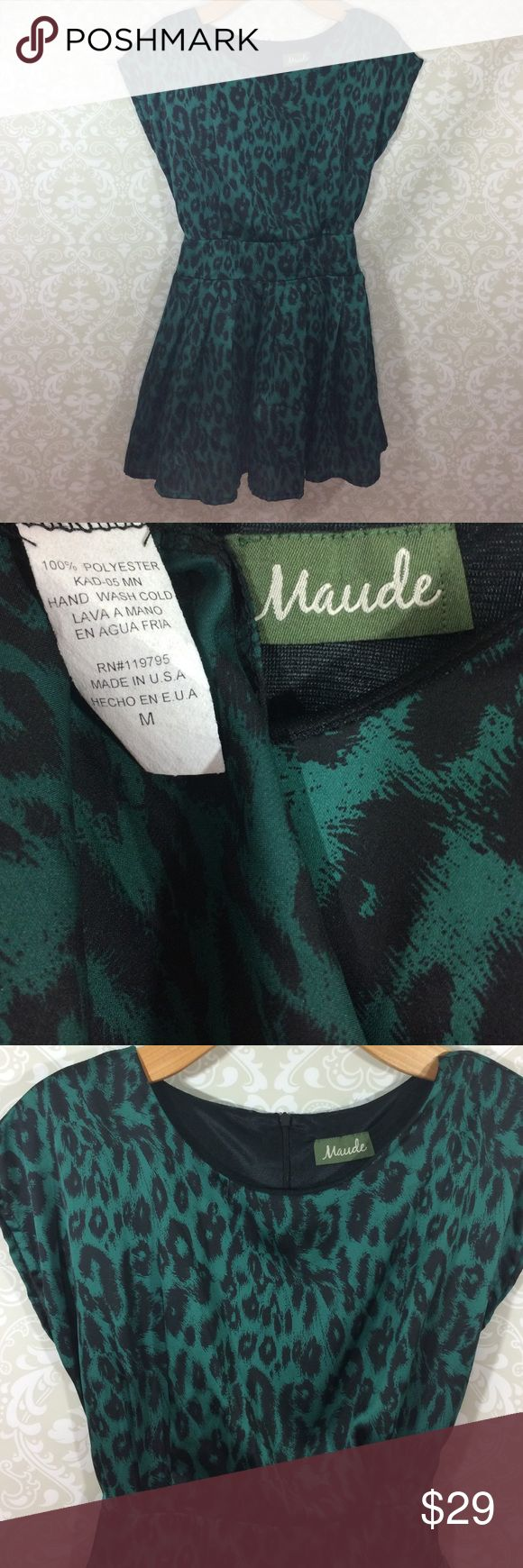 "Maude Black Green Animal Print Mini Dress Medium Very cute fully lined mini dress/long blouse. Personally I'd wear this would leggings, but I'm 5'7"" Perfect longer blouse, or mini dress. Hey maybe you just have the legs for it! 🤷🏽‍♂️ 20"" chest, 31"" top to bottom. Made in USA 🇺🇸 0061612 Maude Dresses Mini"