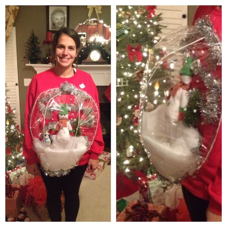 271 best tacky christmas sweaterdoor decorations images on ugly christmas sweater party snow globe diy solutioingenieria Image collections
