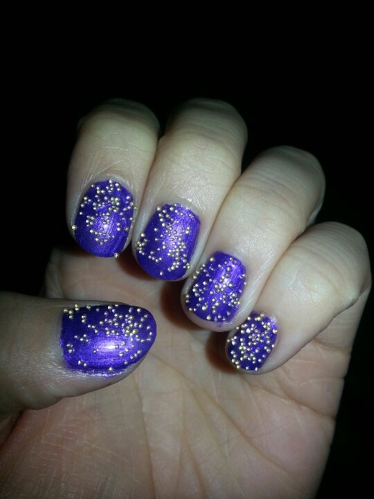 Purple with gold cavier ♥  https://www.facebook.com/TrendyNailsByAmanda