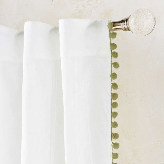 Pair Pom Pom Sheer Curtain Panels 52'' choose your by TheNewHome