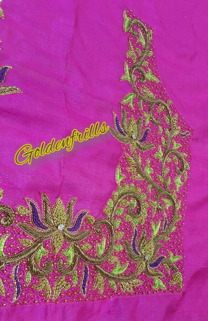 Lotus butie heavy maggam work Bridal Blouse...from goldenfrills😊