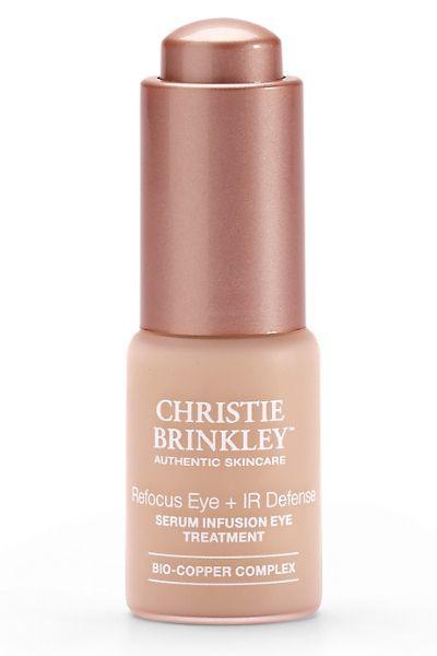 Christie Brinkley Refocus Eye + Ir Defense Serum Infusion Eye Treatment features a powerful bio Copper Complex to build collagen & elastin.