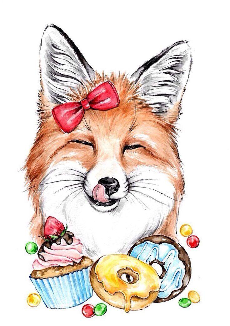 Прикольные рисованные картинки лисы