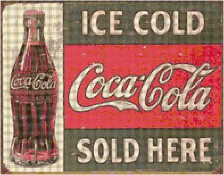 Retro+Coca+Cola+Sign+Cross+Stitch+Pattern++PDF++by+AverlyPatterns,+$4.95