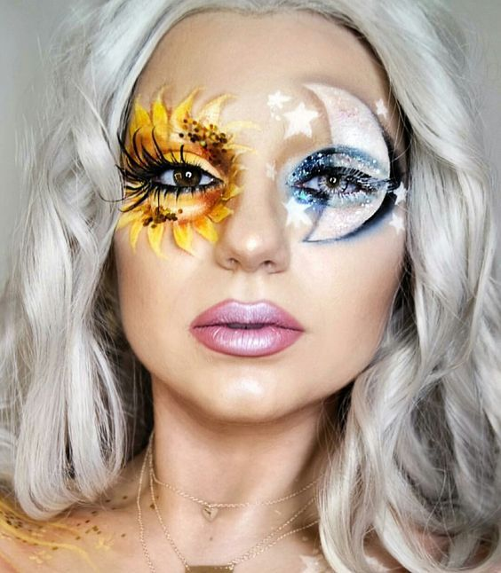 Mother Nature - The Makeup: We're loving this nature-inspired makeup composition as a halloween costume. Paint one eye with a sun and add glitter for shine; paint a moon over the other eye and accent with stars.