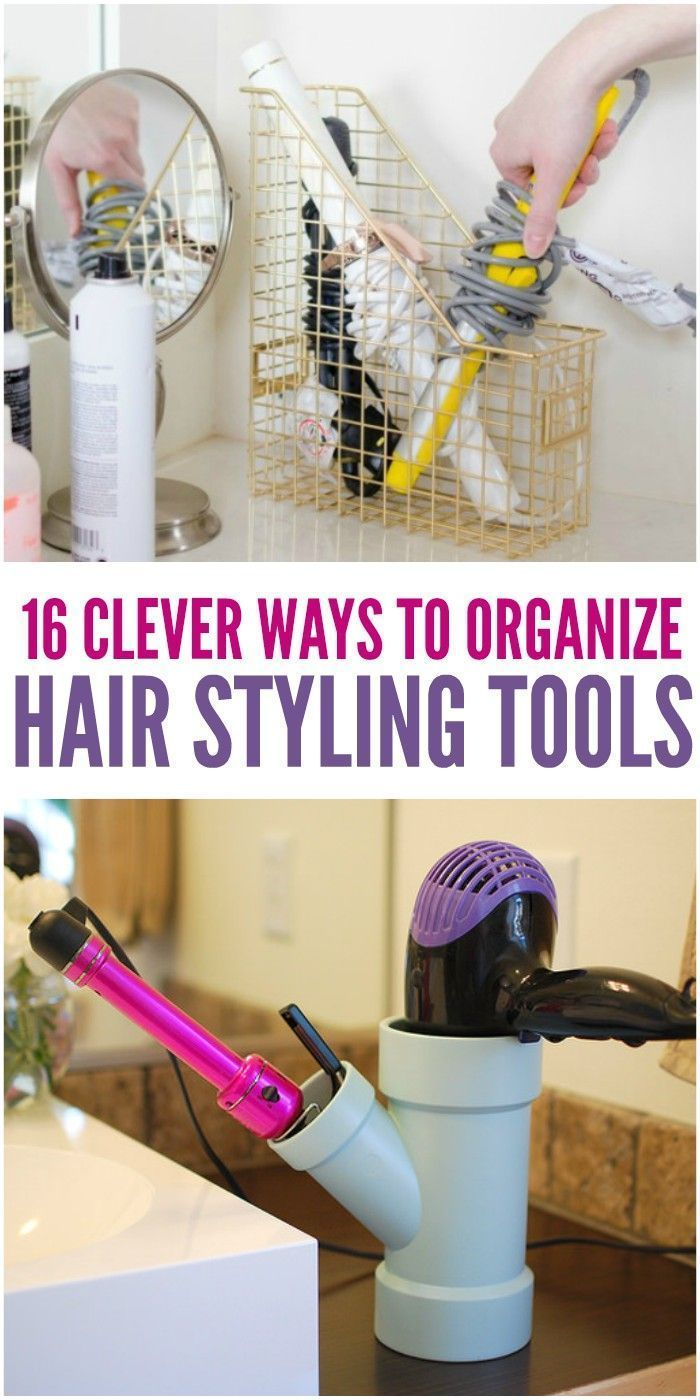 16 Clever Ways To Organize Hair Styling Tools Hair Tool Storage Hair Tool Organizer Bathroom Organization Diy