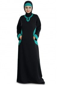 Polyester Plain Party Wear Abayas in Black Colour